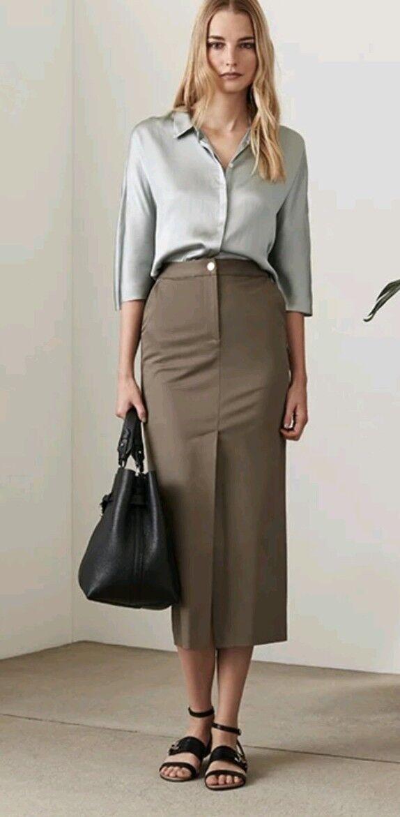 Designer REISS Fresia khaki skirt size 8 --BRAND NEW-- cotton blend calf length