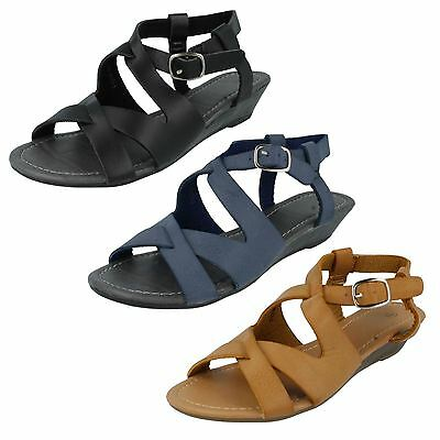 """*SALE* Spot On F10145 Ladies Navy Synthetic 1.5/"""" Wedge Heel Casual Sandals"""