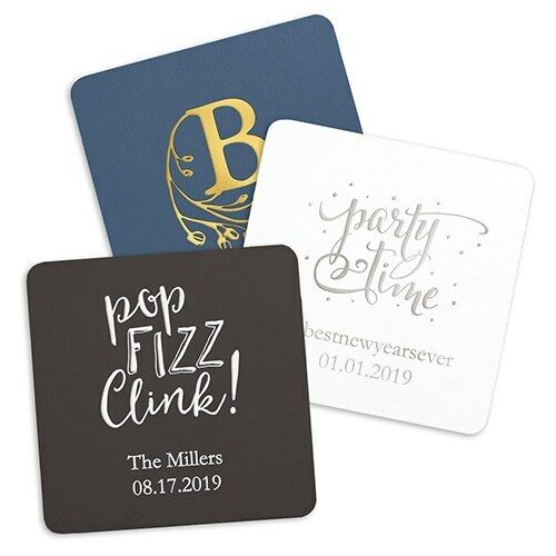 300 Personalized Square Paper Coasters - Wedding Anniversary Birthday Favors