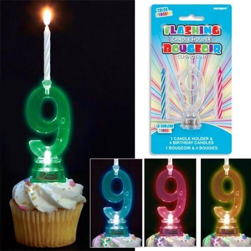 Zahl 9 mit vier Kerzen Blinkende Zahl Farben blinkt in versch