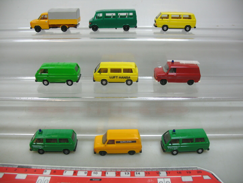 AI748-1  9x Herpa H0 Transporter LKW  Volkswagen VW+Mercedes MB+Ford Transit