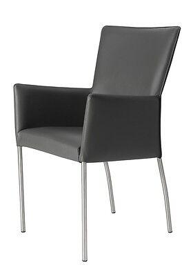 LENARD-ARM-L Sessel aus Edelstahl und Leder Virginia V701