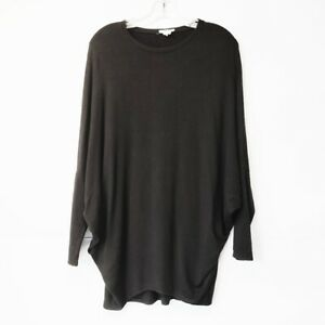 Helmut-Lang-Womans-Size-Small-Black-Dolman-Sleeve-Jersey-Blouse-Scoop-Neck-Top