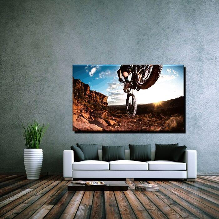 LEINWANDBILD XXL POP ART MOUNTAIN BIKE FAHRRAD BMX MTX ABSTRAKT BUNT BIS 100x60