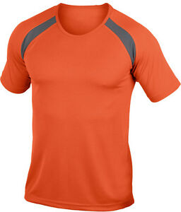 Hanes-Cool-Dri-LISO-NARANJA-Contraste-Poliester-Deporte-Camiseta