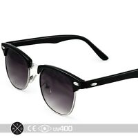 Half Frame Vintage Clubmaster Style Classic Sunglasses Black Silver RX S063