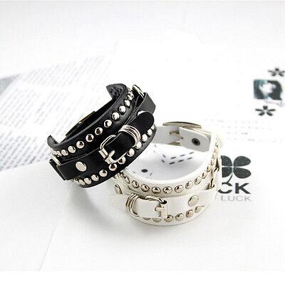 Women Men DIY Punk Fashion Jewelry Leather Cute Infinity Charm Bracelet