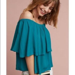 Details about NWT Anthropologie Off The Shoulder Maya Top By Holding Horses  Size M Blue/Teal