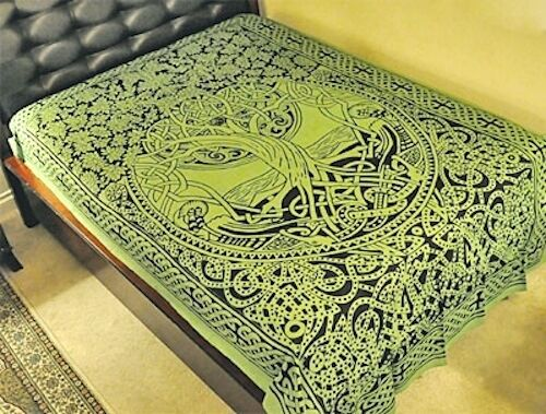 Green Celtic Pagan Wiccan Witch Tree of Life Tapestry!