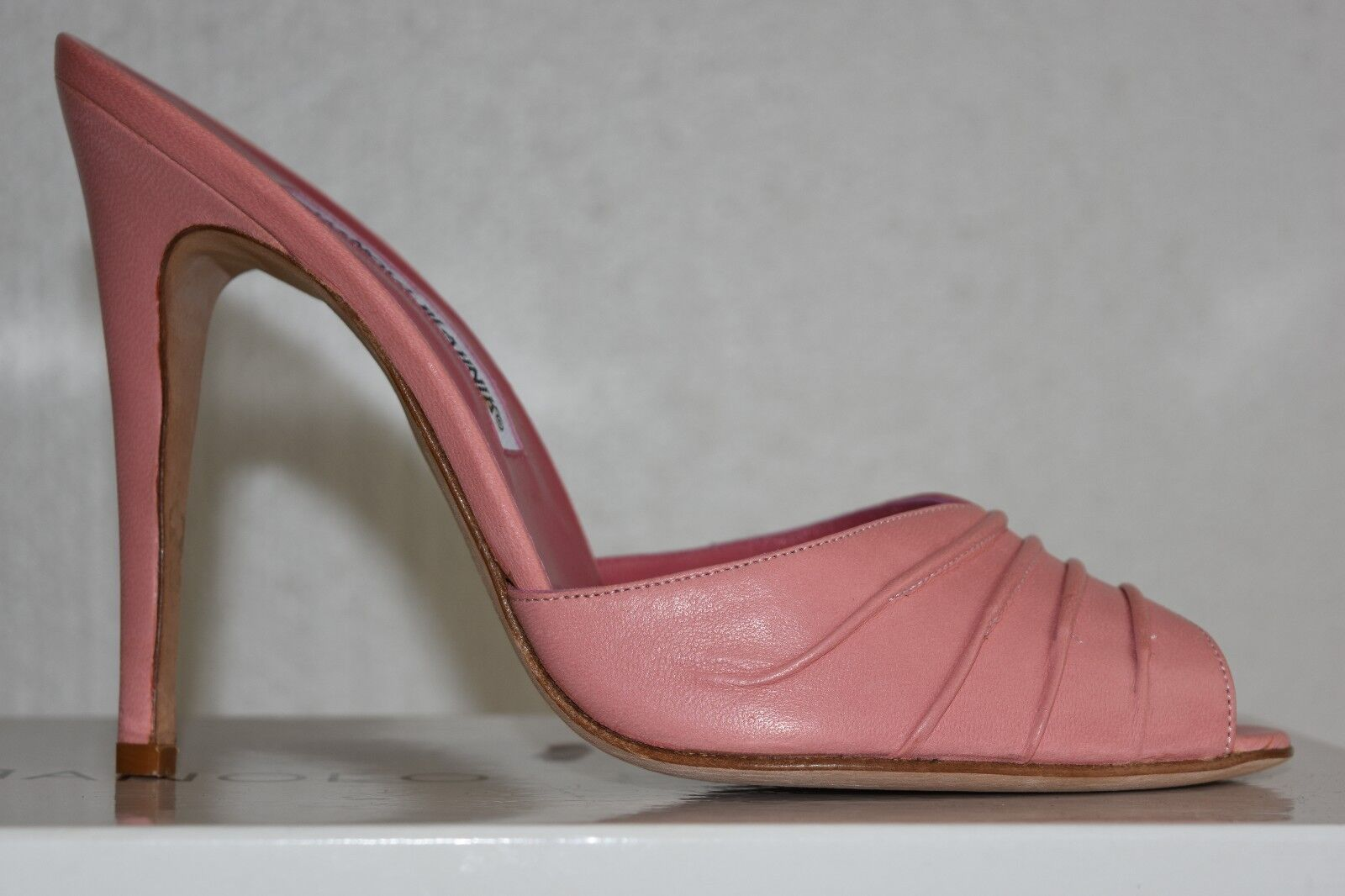 NEW MANOLO BLAHNIK NAGIN NAGIN NAGIN 115 LEATHER Pink Flesh Nude SANDALS SLIDES SHOES 40.5 dc6a8b