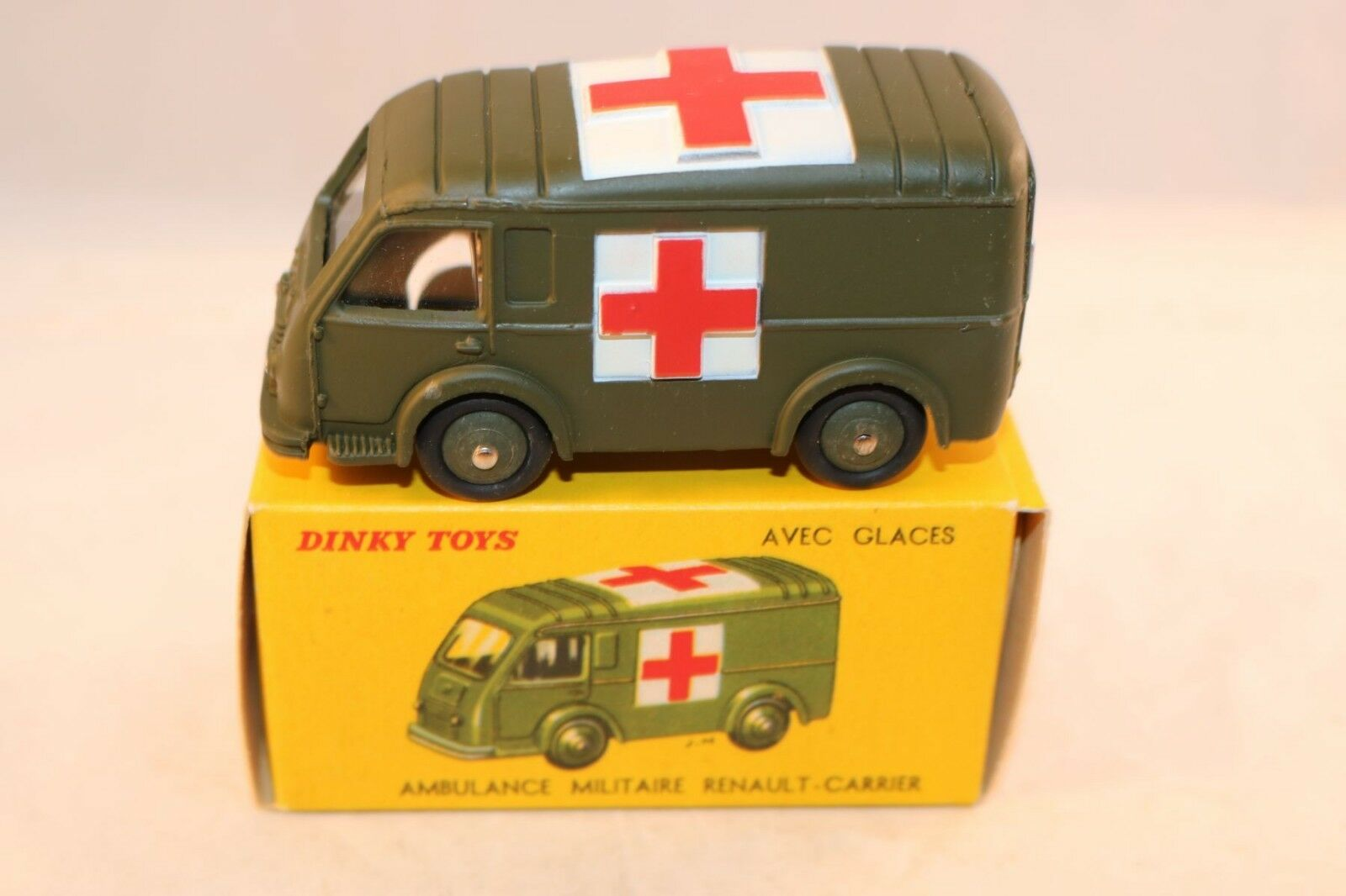 Dinky Toys 80 F Renault Carrier Military Ambulance 99% mint in a SUPER box.