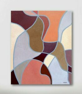 New Cubist Style Abstract Painting On Canvas Color Block Geometric