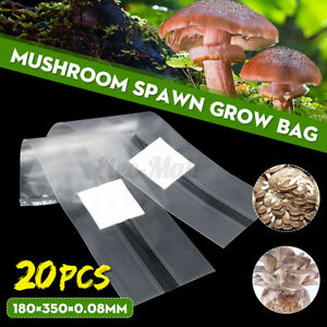 6 Sizes PVC Mushroom Spawn Grow Bag Substrate High Temp Pre Sealable 50//100PCS
