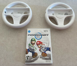 Mario-Kart-Nintendo-Wii-Bundle-2-Wheels-and-Game-Cleaned-Tested-Working-Original