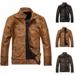 Men-039-s-Leather-Biker-Motorcycle-Jacket-Stand-Collar-Pu-Jacket-Outwear-Coat