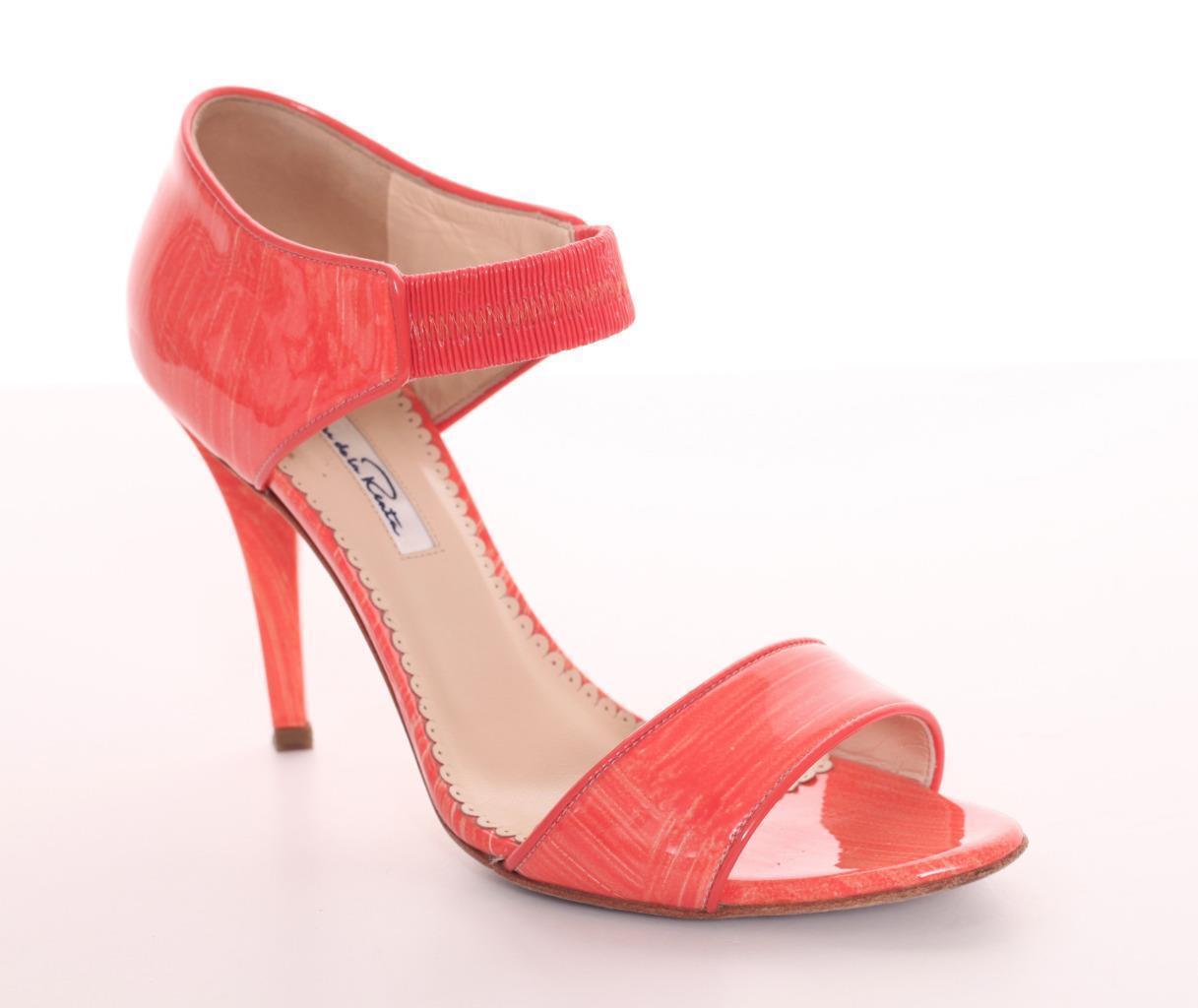 OSCAR DE LA RENTA Coral Patent Leather Open-Toe Sandal 7.5-37.5 Pump 7.5-37.5 Sandal $795 b526ba