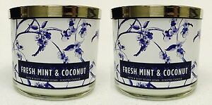 2-Bath-amp-Body-Works-FRESH-MINT-amp-COCONUT-3-Wick-Scented-14-5-oz-Candle