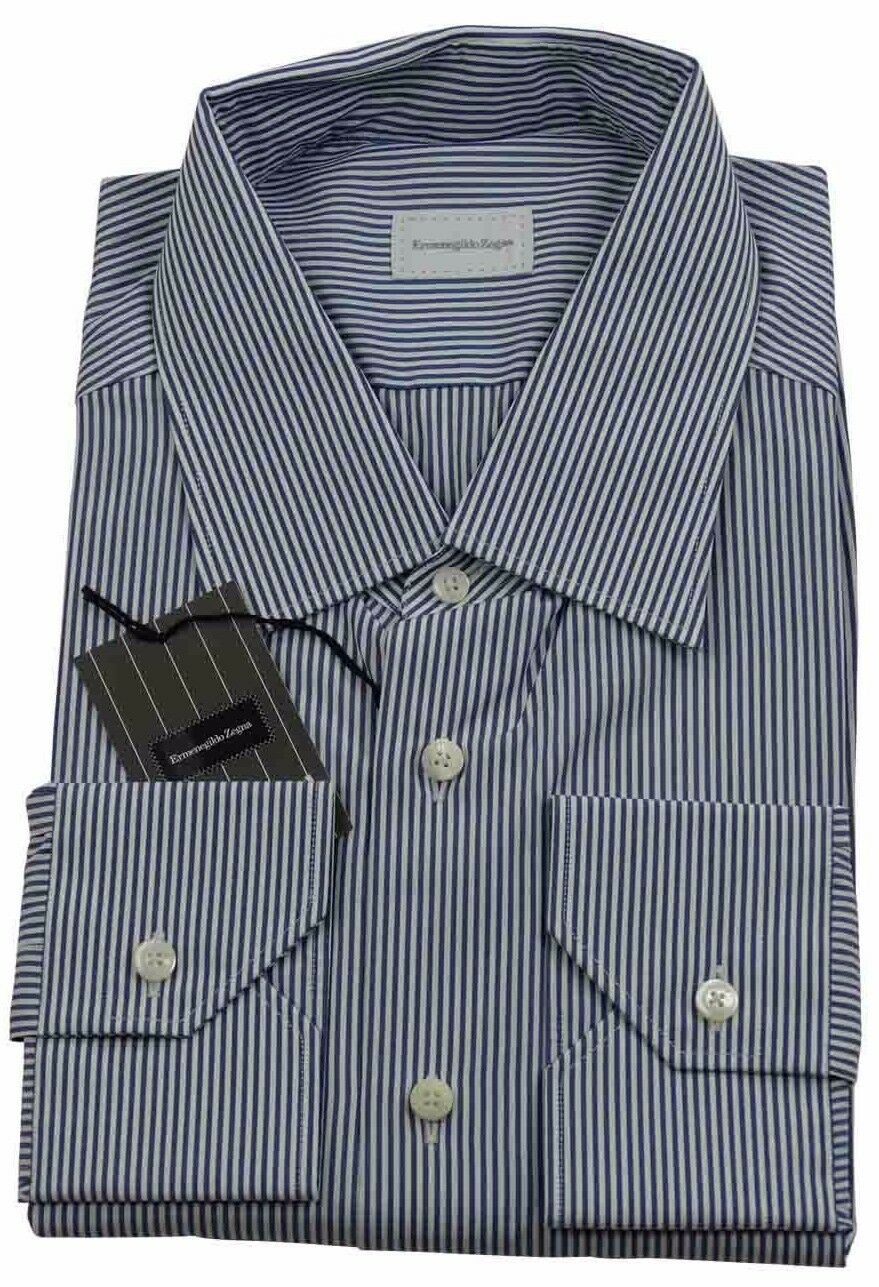 Ermenegildo Zegna Navy bluee Stripe Shirt Made in  BNWT Size 45   17.75