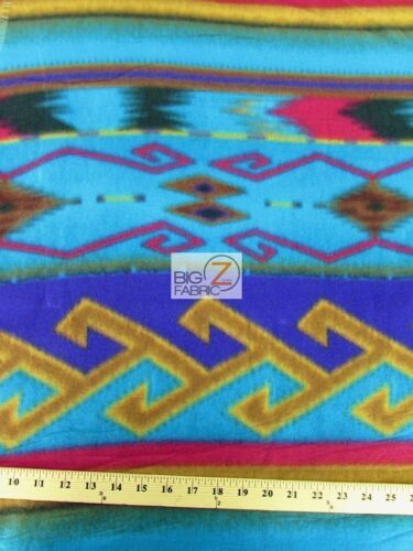 "60/"" WIDTH BY THE YARD 748 Indian Warrior INDIAN PRINT POLAR FLEECE FABRIC"
