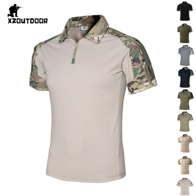 Army Mens Combat T-Shirt Military Tactical Short Sleeve Summer Casual Camouflage