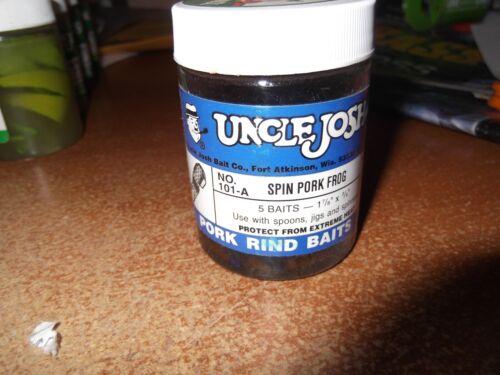 UNCLE JOSH Spin porc Grenouille #101-A 5 Appâts 1-7//8 x 3//4 Noir//Bleu