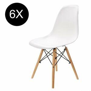 Dettagli su Set di 6 sedia per sala da pranzo Eiffel tavolo cucina eleganti moderne bianco