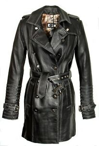 Trench nera coat pelle in morbida coat pelle Trench nera in ZqqRIrxw