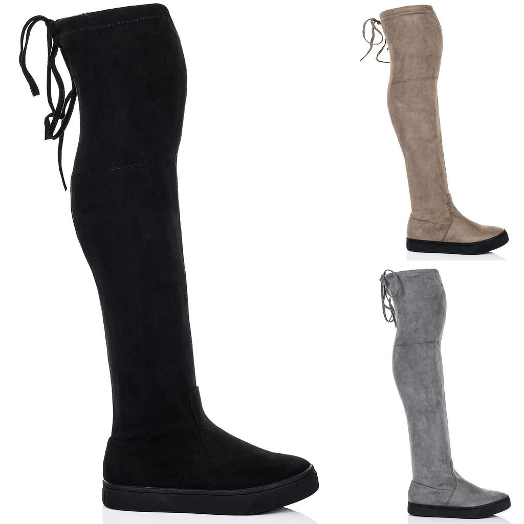 Womens Lace Up Skater Sole Flat Over Knee Tall Boots Sz 3-8