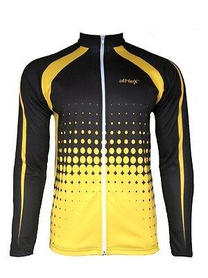 Athlex Funktions Langarm Radtrikot - Fahrradtrikot - Radshirt- warm-schwarz/gelb