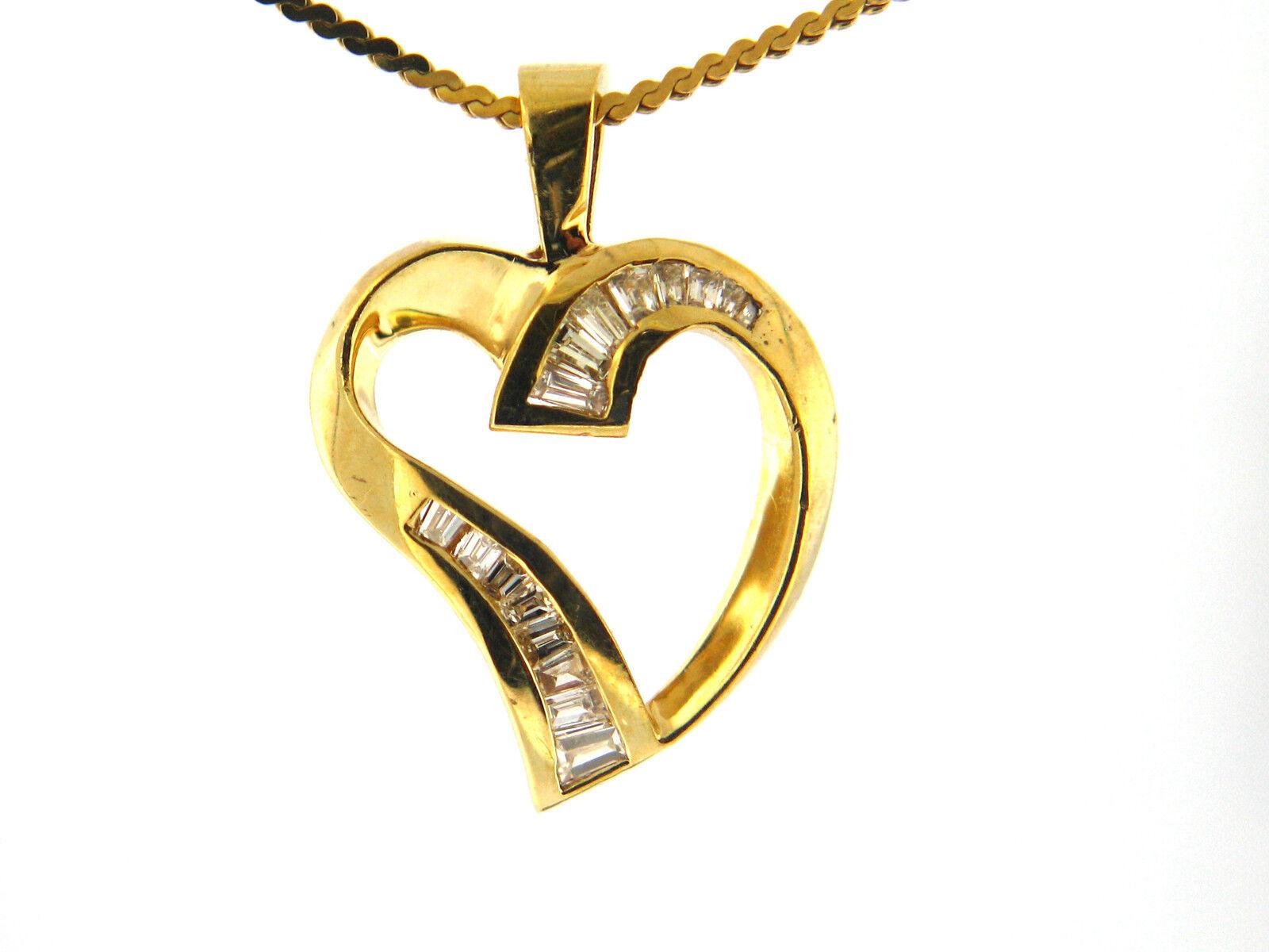 0.55 CT Natural Baguette Diamond Heart Pendant VS G 14K Yellow gold