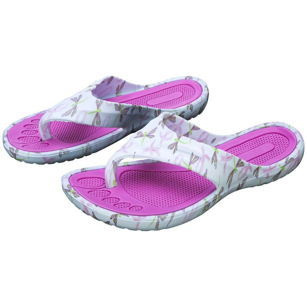Breast Cancer Awareness Pink Ribbon & Dragonfly Flip Flops - Dragonfly Size 8