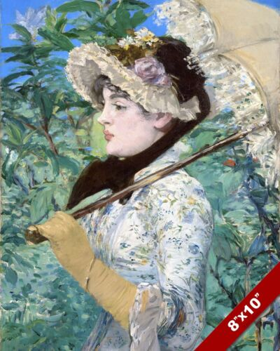 JEANNE WOMAN IN SPRING PORTRAIT EDOUARD MANET PAINTING ART REAL CANVAS PRINT