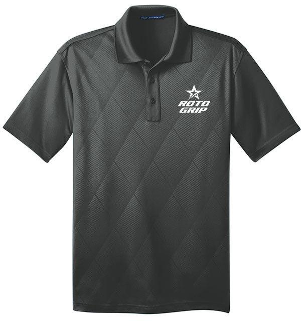 redo Grip Men's Rumble Performance Polo Bowling Shirt Dri-Fit Argyle Graphite