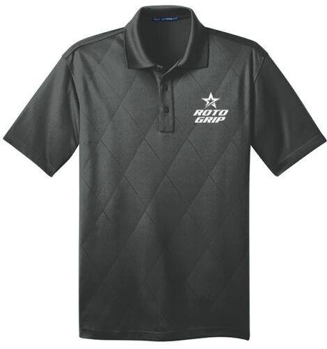Roto Grip Men/'s Rumble Performance Polo Bowling Shirt Dri-Fit Argyle Graphite