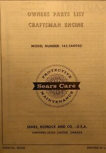 Details about Sears Craftsman Lawn Tractor Engine 143 566062 Tecumseh H60  Owner & Parts Manual