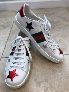 dfcb8c35476 Image is loading Gucci-New-Ace-Star-Sneaker-SIZE-40-EU-
