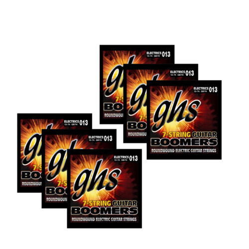 13-74 6-Pack GHS Strings GB7H Boomers 7-String Heavy Electric Guitar Strings