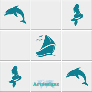 mermaid sail boat dolphin bathroom tile wall stickers