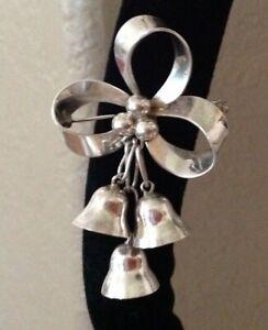 Vintage silver Taxco Mexico Ribbon Brooch Solid silver Brooch