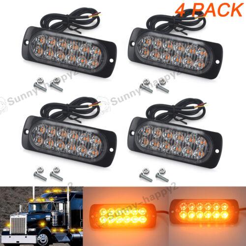 4Pcs 12 LED Amber Strobe Flashing Light Recovery Lightbar Beacon Truck Car Lamp