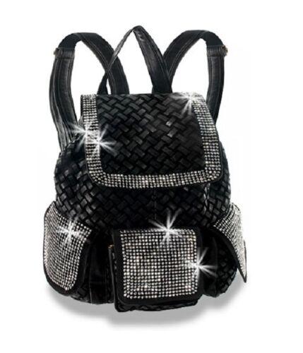 Stiefeletten Kristall Mit Ausdrückliche Handtasche Schwarze Rucksack Neu Leder wqvzpn8