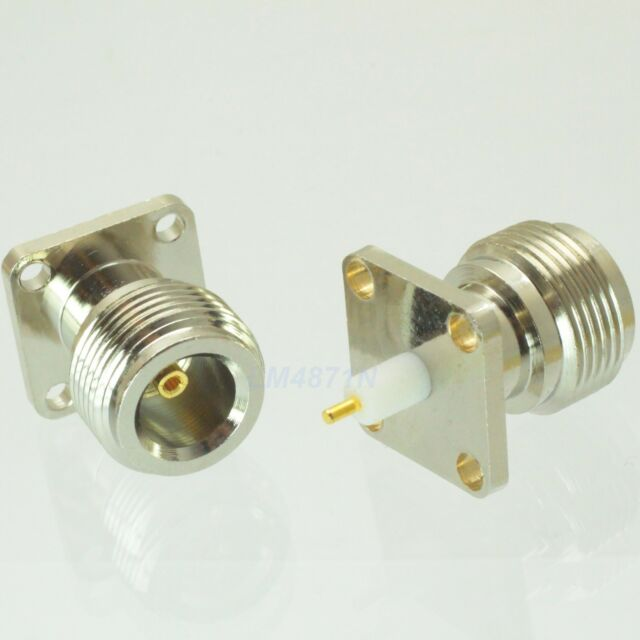 2pcs Connector N female jack 4-hole 18.5mm flange PTFE solder panel mount