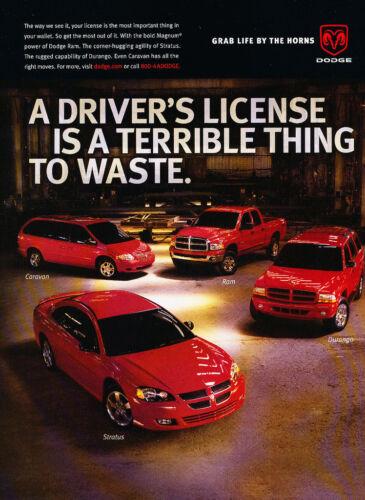 Classic Car Advertisement Print Ad J74 2003 Dodge Caravan Ram Durango