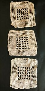 Crochet-Silk-Blend-Mats-Set-Of-3-Vintage-1930s-Hand-Made-Retro-Doilies-Old-Lace