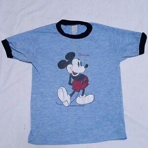 a2d34a262 VTG 80's Mickey Mouse T Shirt Ringer Florida Polyester Acrylic Walt ...