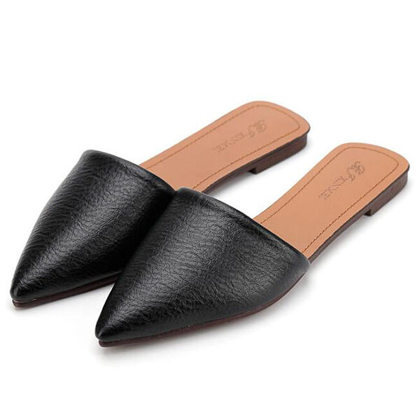 Sandals slippers woman low heel black heel 1 cm elegant comfortable CW858