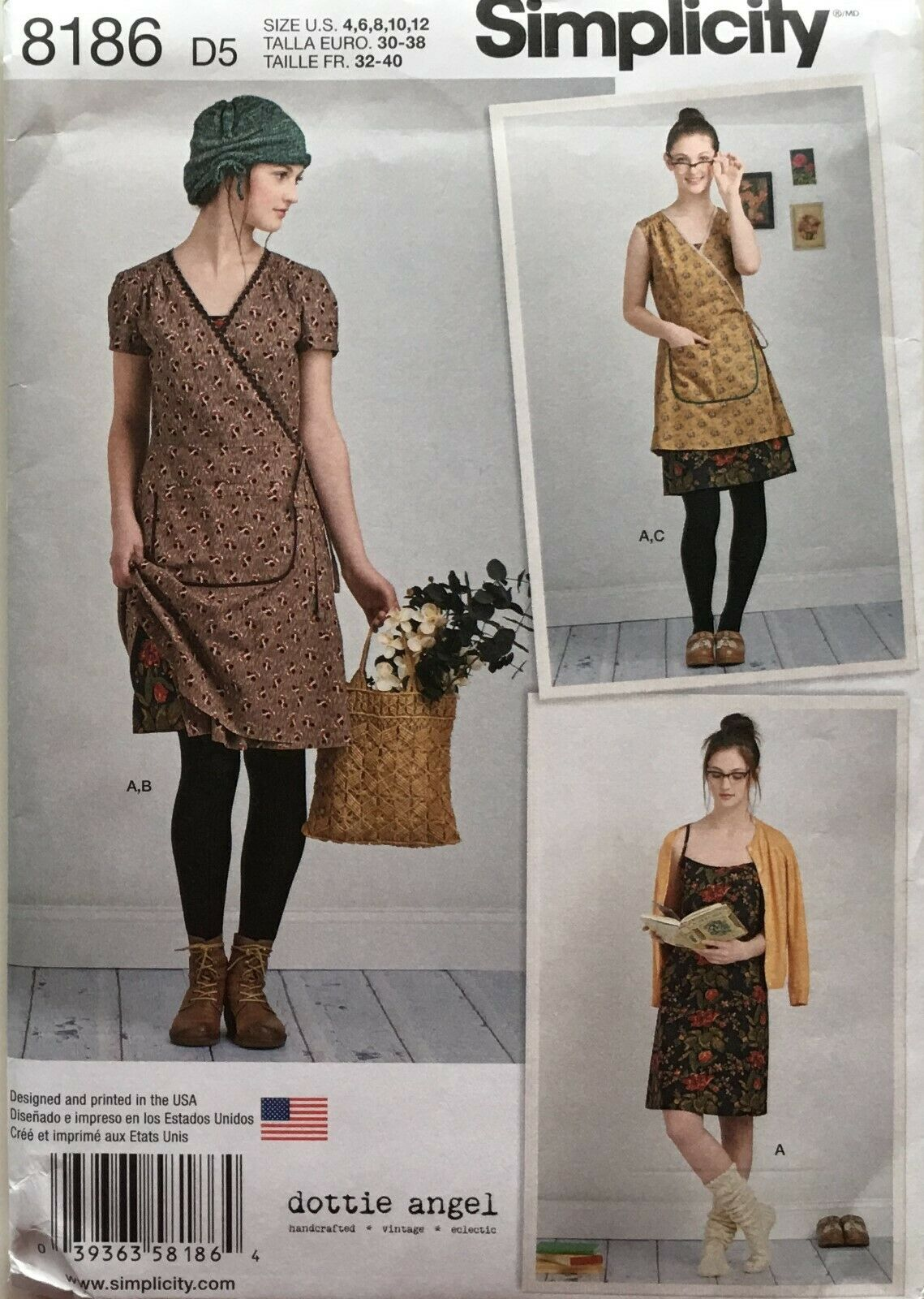 Slip Or Wrap Dress-4-6-8-10-12 Simplicity Dottie Angel Misses/' Slip