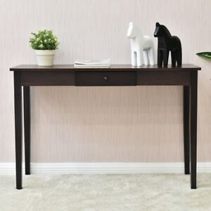 Details about Retro Living Room Walnut Dark Wood Entryway Side Sofa Console  Table Furniture