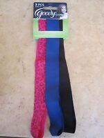 Goody Slideproof Headwraps Multicolored Set Of 3 Nip Black,blue,pink