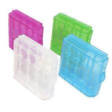 Casos de plástico de color 4x cajas de almacenamiento para 16 AA o AAA Baterías vendedor del Reino Unido